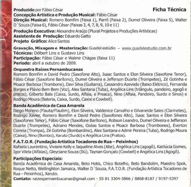 ficha técnica CD Orquestra Raízes Pernambucanas